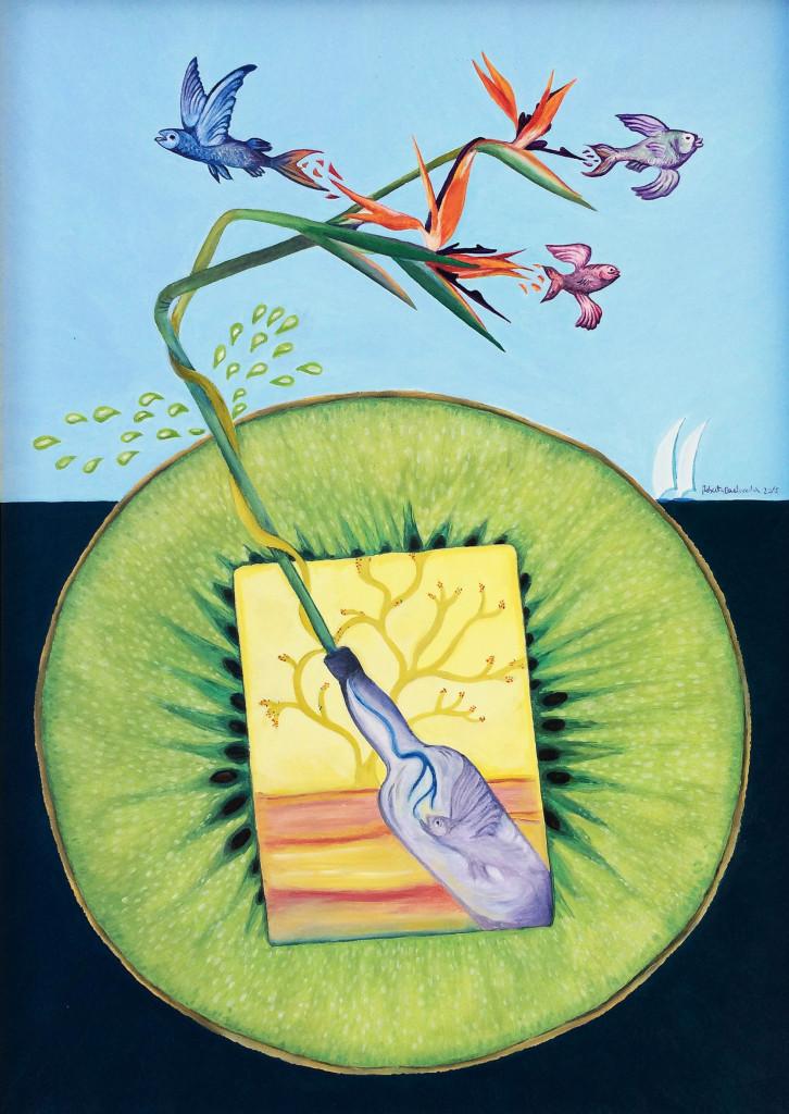"""""""Kiwi Succo Inside and Out"""" di Roberto Carlocchia, 2015. """"Il pesce in bottiglia, espressione di costrizione interiore, nutrendosi del succo energetico del kiwi si trasforma in sterlizia, fiore regale chiamato anche """"uccello del paradiso"""", e ne esce fuori come pesce volante, simbolo onirico di libertà emotiva."""""""