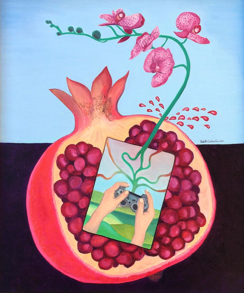"""""""Melograno Succo-Inside Out"""" di Roberto Carlocchia. """"All'interno del frutto, che ha un significato antico di morte e di vita (la mitologia ci narra del sacrificio mortale di Dionisio dal cui sangue nasce l'albero del melograno), alberga il gioco (visto anche in chiave più moderna) della vita e della morte. Ma qui è la vita che sprizza fuori evolvendosi in orchidea simbolo di bellezza, armonia e perfezione spirituale."""""""