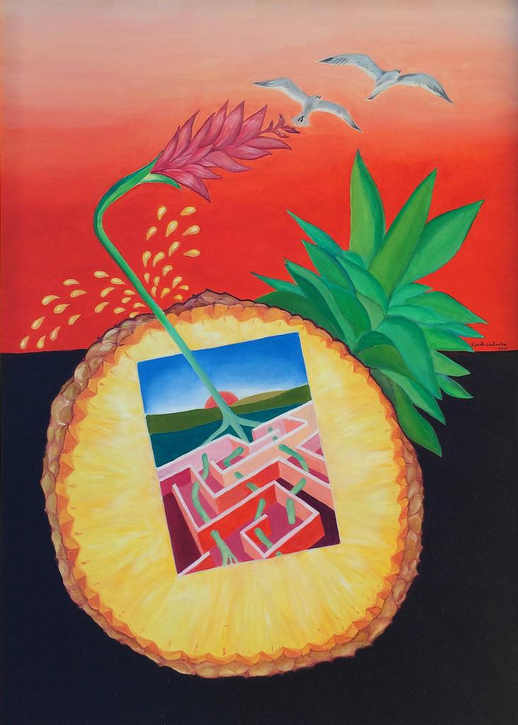 """""""Ananas Succo-Inside Out"""" di Roberto Carlocchia. """"Le radici dell'ananas, simbolo di ospitalità e benvenuto, partendo dal cuore del frutto e alimentandosi del suo succo rompono le mura del labirinto e si liberano trasformandosi in Red Ginger, fiore tropicale dai petali che hanno la forma delle ali degli uccelli."""""""