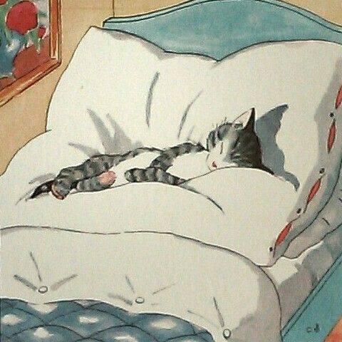 Come rilassarsi? Osserva un gatto: nessun uomo può essere un insegnante migliore di lui. _ Osho Rajneesh _ Illustrazione di Ida Bohatta