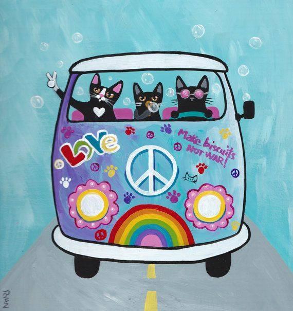 """Una volta ho provato ad essere normale. Sono stati i cinque minuti peggiori della mia vita. _ K. K. Walker _ """"Rainbow Hippies VW Peace Bus"""" by KilkennycatArt"""