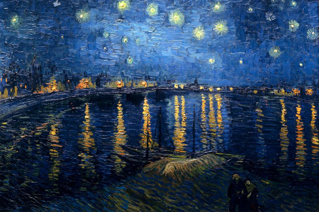 """Le stelle sono buchi nel cielo da cui filtra la luce dell'infinito. _ Confucio _ """"Notte stellata sul Rodano"""" di Vincent Van Gogh"""
