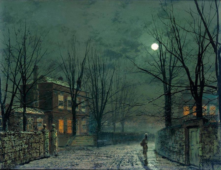 """Io amo la luna, assai più del sole. Amo la notte, le strade vuote, morte, la campagna buia, con le ombre, i fruscii, le rane che fanno cra cra, l'eleganza tetra della notte. È bella la notte: bella quanto il giorno è volgare. Io amo tutto ciò che è scuro, tranquillo, senza rumore. La risata fa rumore. Come il giorno. Antonio De Curtis (Totò) """"The Old Hall Under Moonlight"""", John Atkinson Grimshaw."""