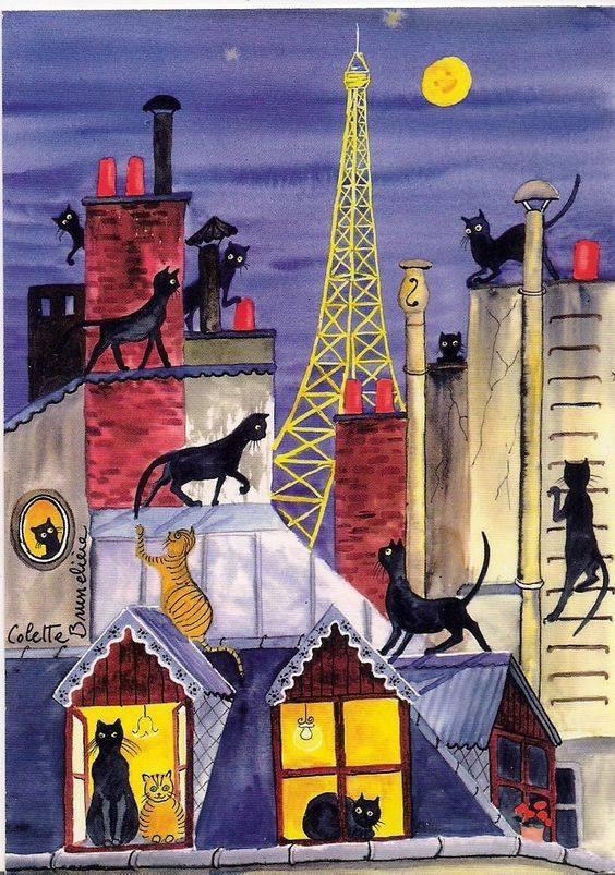 """Cosa ha a che fare la notte con il sonno? _ John Milton _ """"Roaming Cats"""" by Colette Brunelière."""