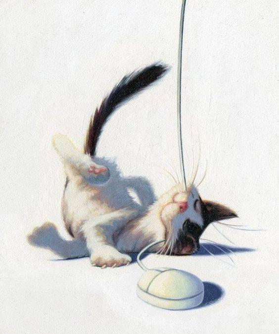 Un gatto giocherellone, con le sue capriole e i suoi modi da tigre in miniatura, è mille volte più divertente di metà della gente con cui ci tocca vivere in questo mondo. _ Sidney Morgan _ Illustrazione di James Bennett