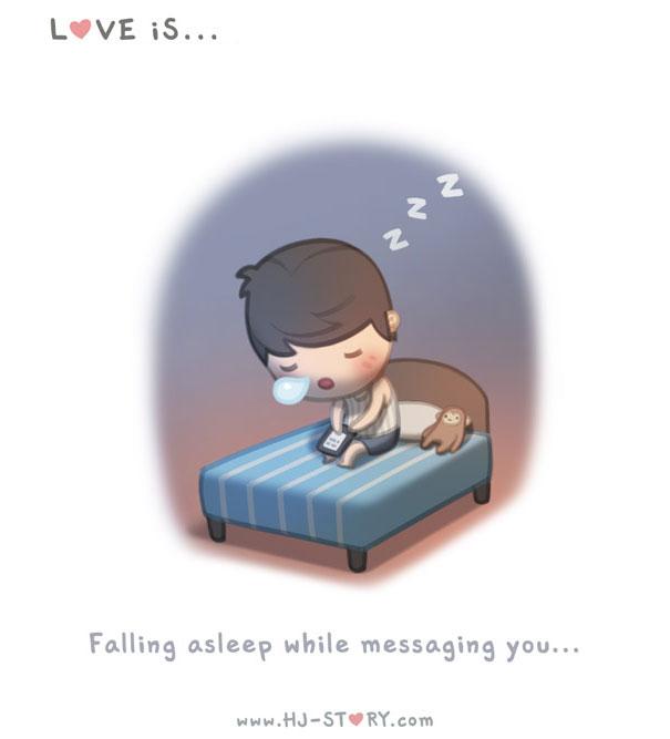 """""""L'amore e'... addormentarmi mentre sto parlando via chat con te."""""""
