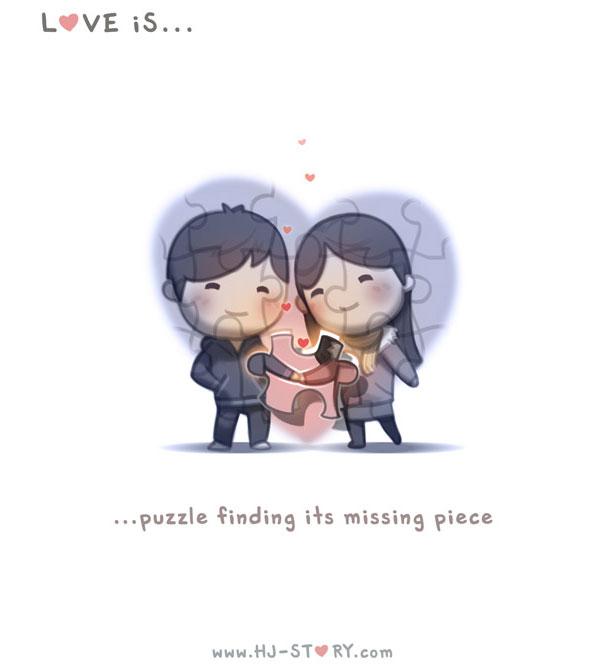 """""""L'amore e'... un puzzle che ha trovato la sua parte mancante."""""""