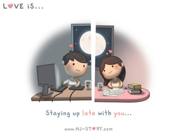 """""""L'amore e'... stare sveglio fino a tardi insieme a te."""""""
