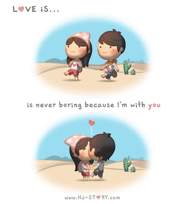 """""""L'amore è... non essere mai annoiato perché sono con te"""","""