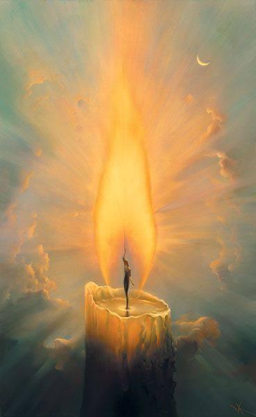 Solo la luce che uno accende a se stesso, risplende in seguito anche per gli altri. _ Arthur Schopenhauer _ Dipinto di Vladimir Kush