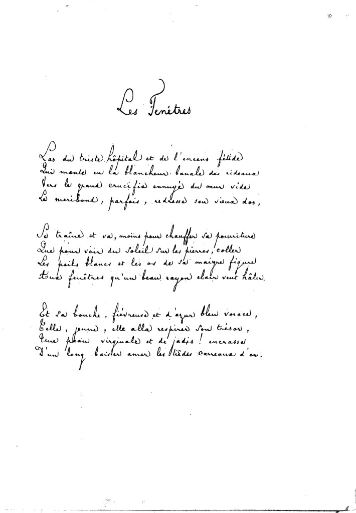 Les Fenêtres, (Le Finestre) di Stèphane Mallarmè.