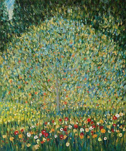"""Ogni nuovo mattino, uscirò per le strade cercando i colori. _ Cesare Pavese _ Gustav Klimt, """"Apple Tree"""""""