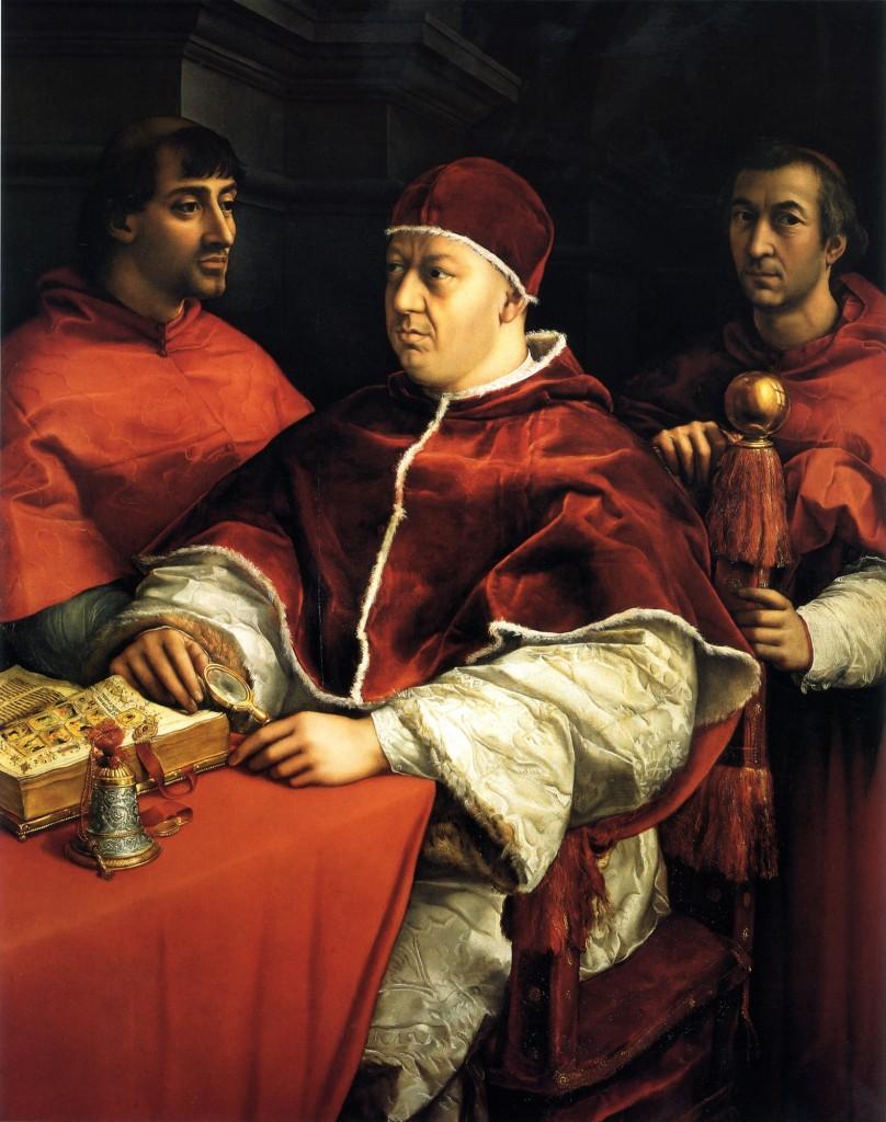 """Raffaello-""""Ritratto di Leone X con i cardinali Giulio de' Medici e Luigi de' Rossi"""" , 1518."""