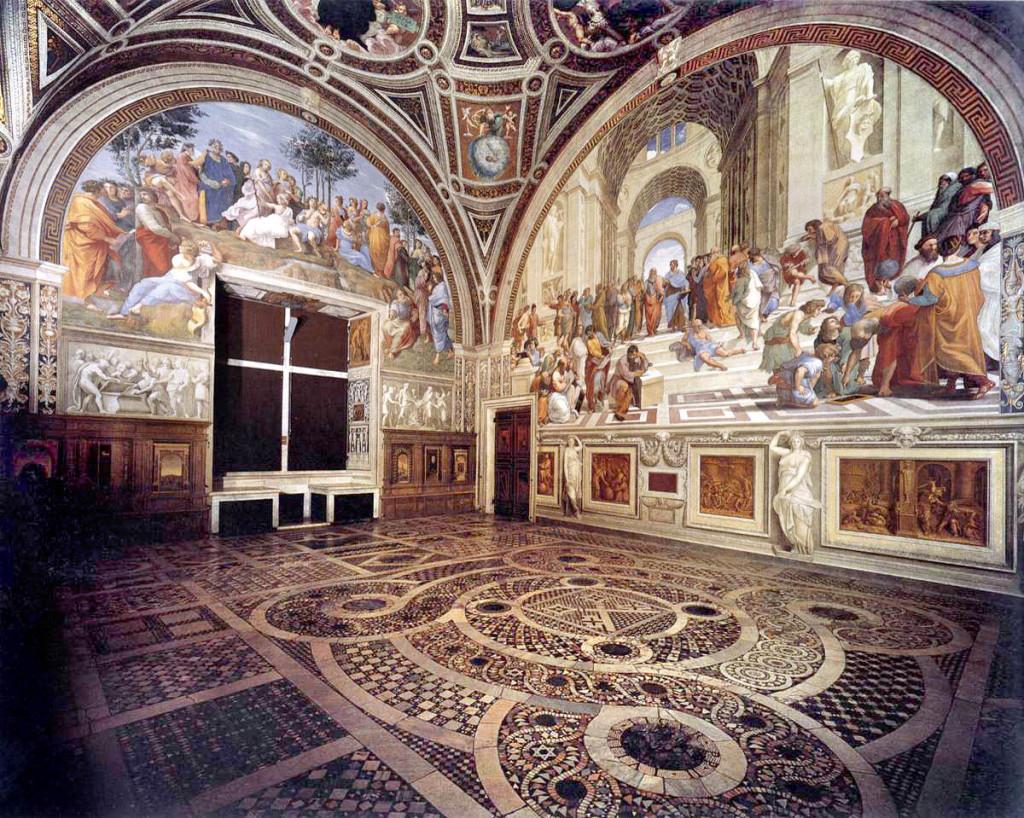 """Raffaello, """"La Stanza della Segnatura"""", affresco realizzato tra il 1509 e il 1511."""