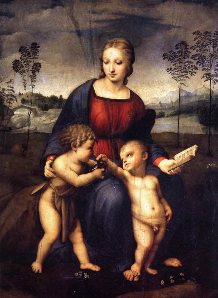 """""""Madonna con il Bambino e San Giovannino (Madonna del cardellino), 1506-1507. Firenze, Galleria degli Uffizi."""