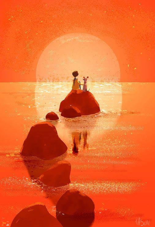 """Se vuoi entrare nel mio mondo, chiudi bene l'altro fuori. _ Simone Morana _ """"Pumpkin Moon"""" di Pascal Campion."""