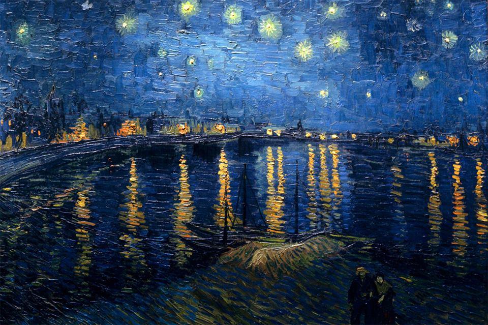 """Il giorno ansima nell'urgenza. Solo la notte si lascia respirare. _ Fabrizio Caramagna _ """"Notte sul Rodano"""", Vincent Van Gogh"""