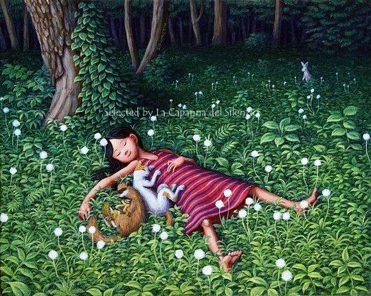 «E dopotutto ci sono tante consolazioni! C'è l'alto cielo azzurro, limpido e sereno, in cui fluttuano sempre nuvole imperfette. E la brezza lieve […] E, alla fine, arrivano sempre i ricordi, con le loro nostalgie e la loro speranza, e un sorriso di magia alla finestra del mondo, quello che vorremmo, bussando alla porta di quello che siamo». _ Fernando Pessoa _ Illustrazione di Shinya Okayama
