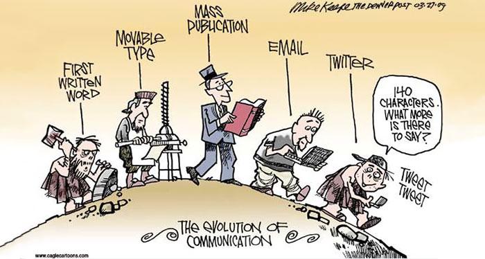"""""""L'evoluzione della comunicazione"""" di Mike Keefe"""