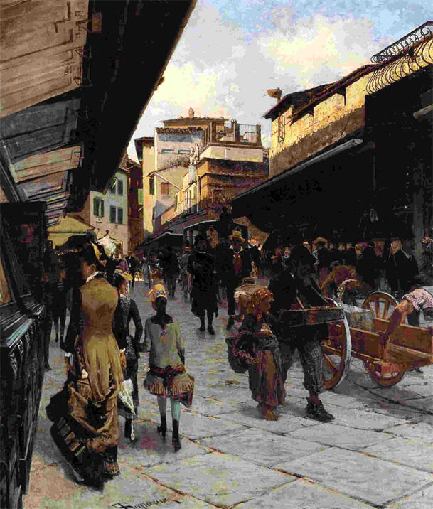 """""""Il Ponte Vecchio a Firenze"""" (1879), Telemaco bartolini"""
