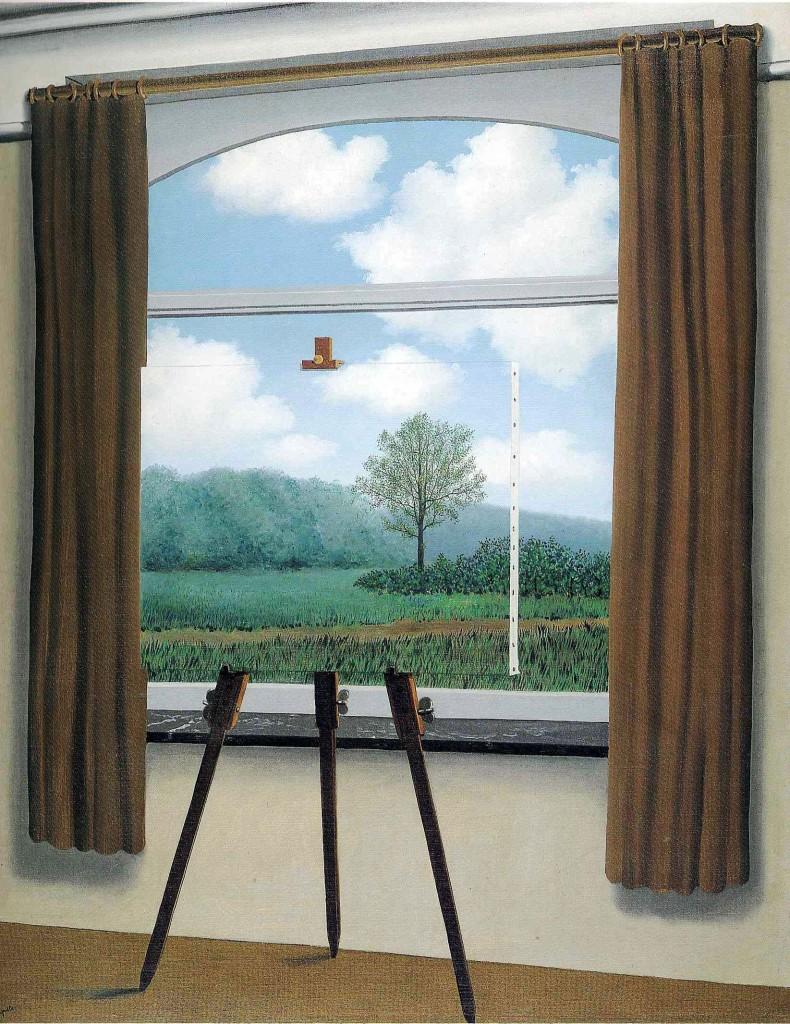 """La poesia non ha nulla a che fare con la versificazione. Consiste in ciò che si trova nel mondo, al di qua di quanto ci è permesso di osservare. René Magritte, """"La condizione umana""""."""