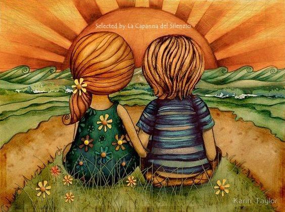 Si ama bene una volta sola: la prima. Gli amori che vengono poi sono meno involontari. _ Jean De La Bruyère _ Illustrazione di Karin Taylor.