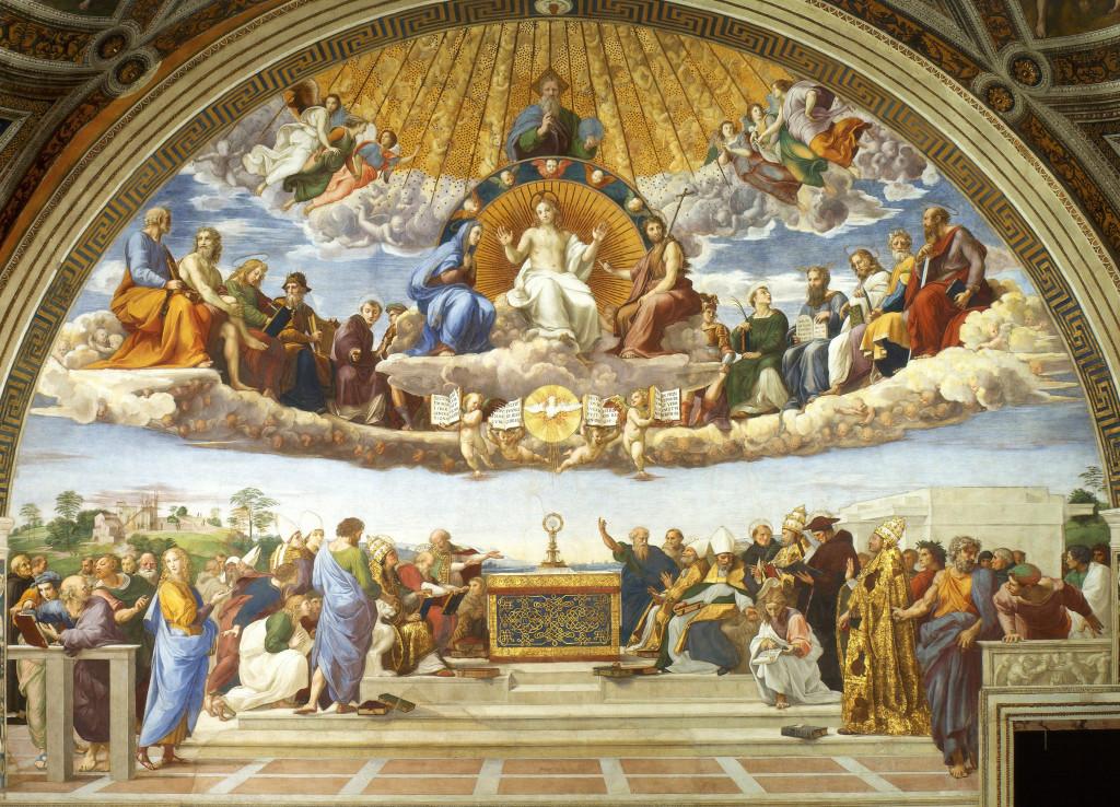 """""""La disputa del Sacramento"""", 1509. Stanza della Segnatura, Museo Vaticano."""