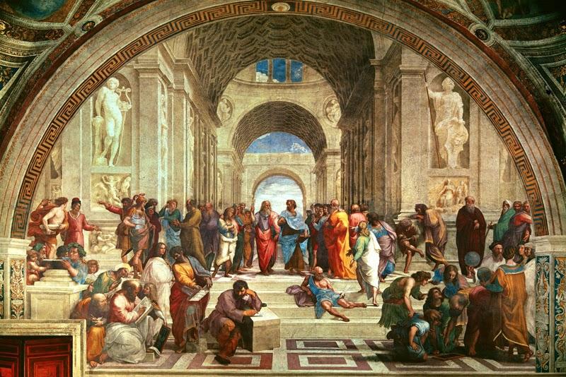 """""""La scuola di Atene"""" (1509-10), Stanza della Segnatura, Città del Vaticano."""