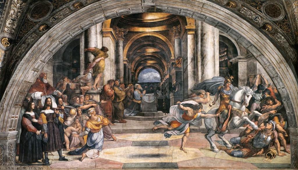 """""""Cacciata di Eliodoro dal tempio"""" (1511-13), Stanza di Eliodoro, Palazzi Vaticani, Roma."""