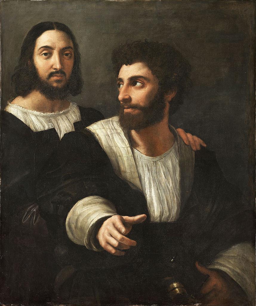 """""""Doppio ritratto"""" (1518). Parigi, Louvre. Autoritratto di Raffaello insieme ad un personaggio la cui identità non è stata accertata."""