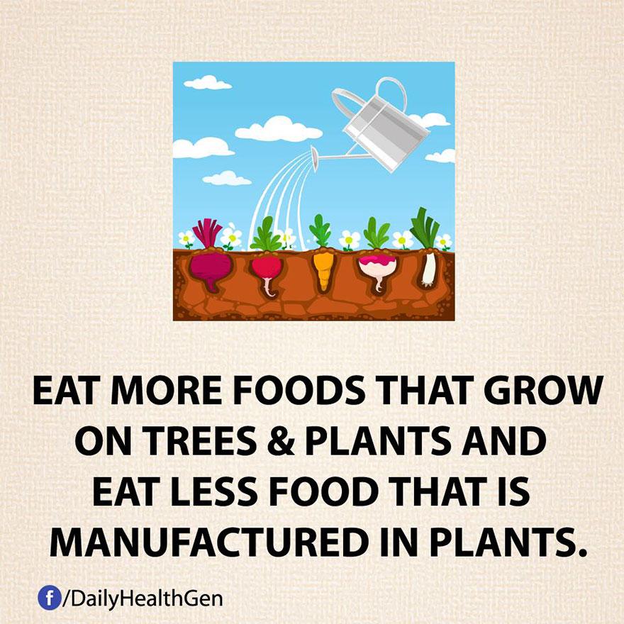 """""""Aumenta il consumo di cibo che cresce sugli alberi e sulle piante e diminuisci quello preconfezionato."""""""