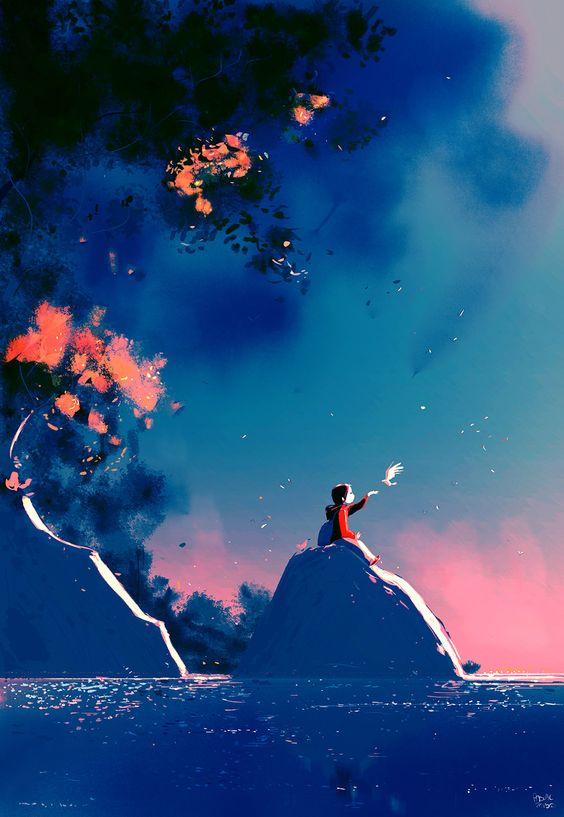Solo gli uccelli volano, e gli angeli, e gli uomini… quando sognano. _ Josè Saramago _ Pascal Campion Art