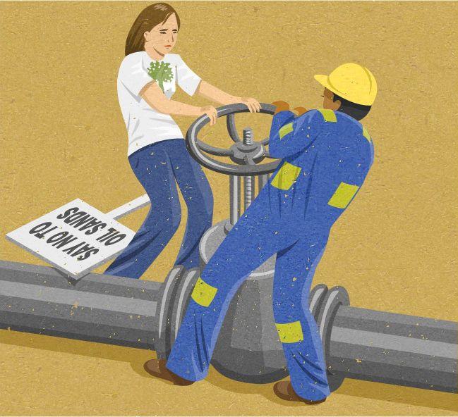 """""""Diciamo no alle sabbie petrolifere""""."""