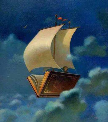 """Solo coloro che rischiano di spingersi troppo lontano possono al limite scoprire quanto lontano si possa andare. _ Thomas Stearns Eliot _ """"The Reading Ship"""" di Henriette Sauvant."""