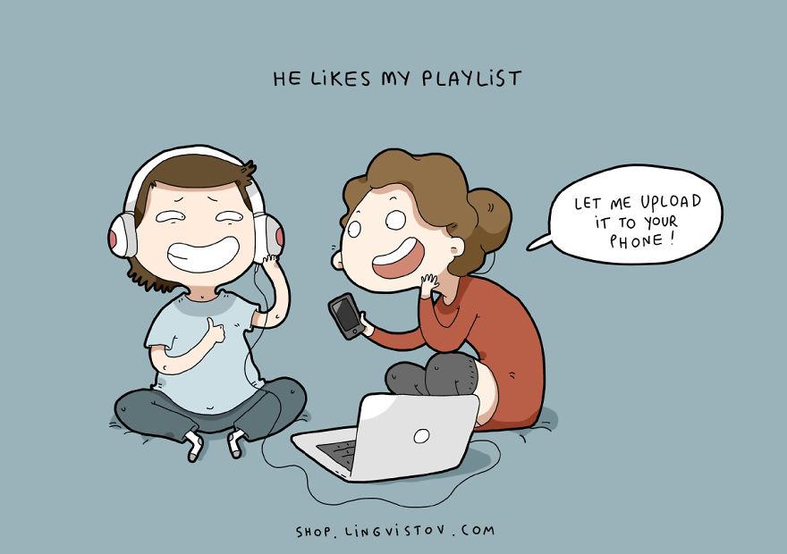"""""""Gli piace la mia playlist"""". (Lasciami caricarla sul tuo telefonino)"""