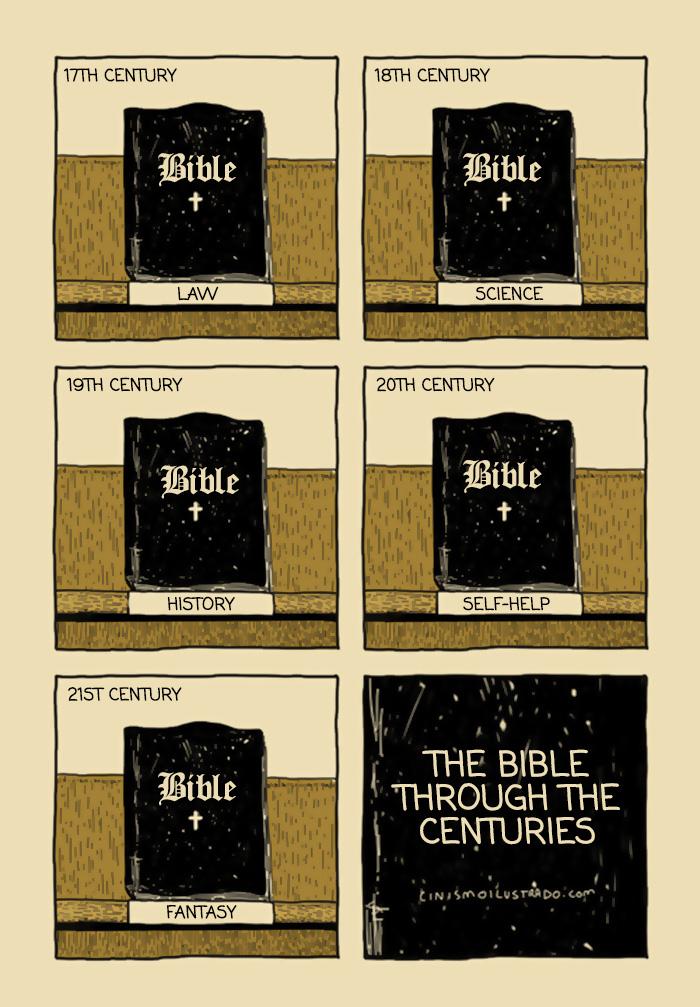 """""""La Bibbia nel 17° secolo: legge. La Bibbia nel 18° secolo: scienza. La Bibbia nel 19° secolo: storia. La Bibbia nel 20° secolo: libro di auto-aiuto. La Bibbia nel 21° secolo: fantasy. La Bibbia attraverso i secoli."""""""