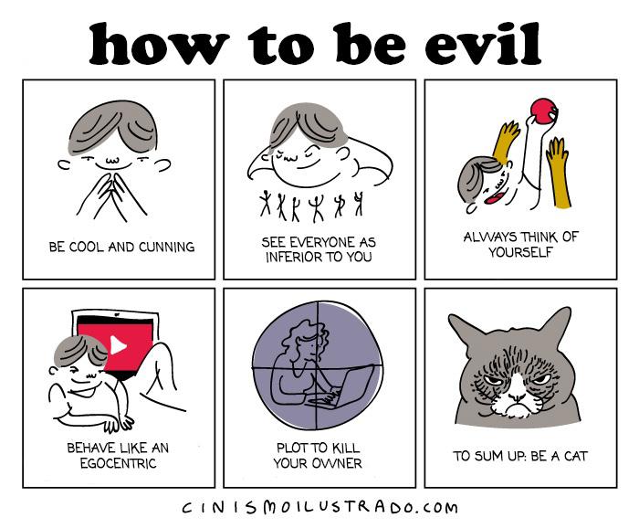 """""""COME ESSERE CATTIVO. Sii freddo e scaltro. Guarda gli altri come esseri a te inferiori. Pensa sempre a te stesso. Comportati come un egocentrico. Progetta di uccidere la tua padrona. In parole povere: comportati come un gatto."""""""