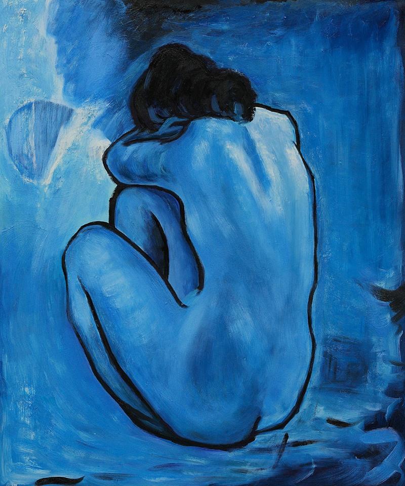 """nterrogo la tristezza e scopro che non ha il dono della parola; eppure, se potesse, sono convinto che pronuncerebbe una parola più dolce della gioia. _ Kahlil Gibran _ """"Nudo blu"""", Pablo Picasso"""