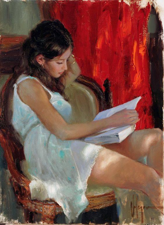"""Leggendo non cerchiamo idee nuove, ma pensieri già da noi pensati, che acquistano sulla pagina un suggello di conferma. Ci colpiscono degli altri le parole che risuonano in una zona già nostra – che già viviamo – e facendola vibrare ci permettono di cogliere nuovi spunti dentro di noi. Cesare Pavese, """"Il Mestiere di vivere"""". Vladimir Volegov - Reading a Novel"""