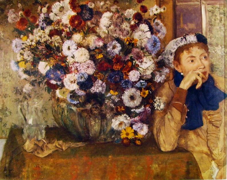 """""""Donna con crisantemi"""", 1865."""