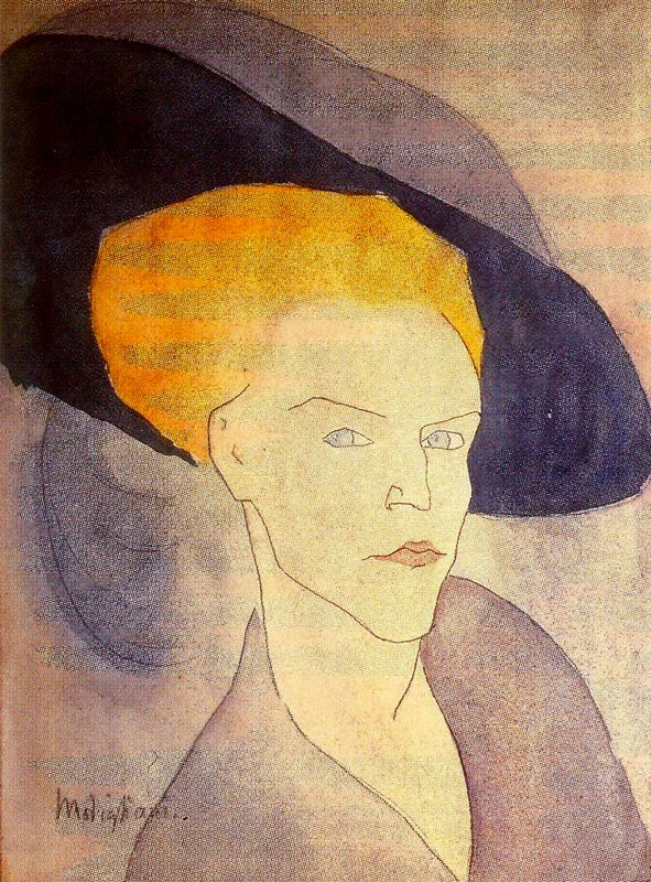 """""""Donna con cappello"""" (1907), acquarello ritenuto uno dei dipinti più antichi di Modigliani del periodo parigino."""