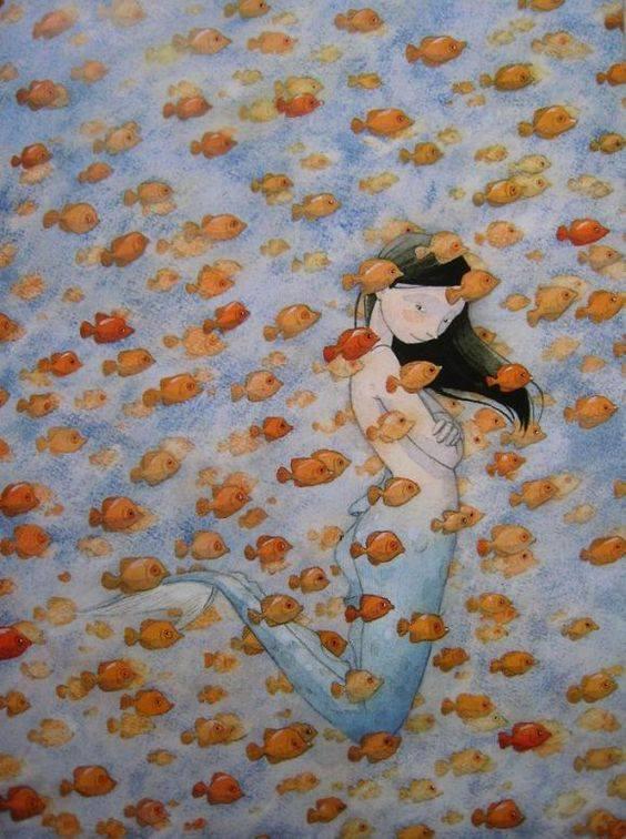 Non dimenticate mai che solo i pesci morti nuotano con la corrente. _ Malcolm Muggeridge _ Quentin Gréban Art.