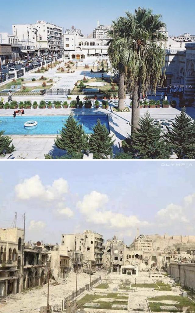 Una foto che mostra il volto della bellissima città di Aleppo prima e dopo la guerra.