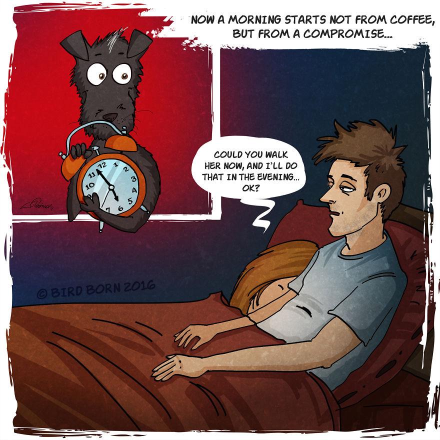 """""""Adesso il mattino non comincia con il caffè, ma con un compromesso. Potresti portarla a spasso adesso ed io lo farò stasera, va bene?"""""""