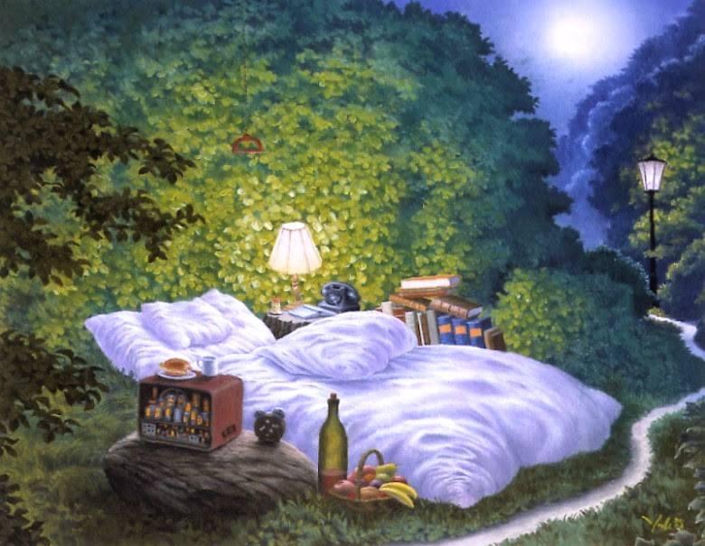 """A volte i sogni, al pari degli odori, rifiutano di cedere alle parole la loro essenza più profonda. _ Karen Blixen _ Jacek Yerka, """"Mensajes Del Bosque En Una Noche Iluminada Por La Luna""""."""