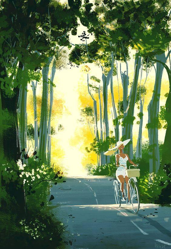 C'è una vita da vivere! Ci sono biciclette da inforcare, marciapiedi da passeggiare e tramonti da godere. _ Cesare Pavese _ Pascal Campion Illustration.