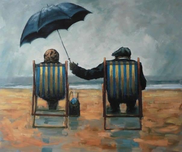 """Cosa c'è di più bello di due giovani che si amano? Due vecchi che si amano ancora. _ R. Mucci _ """"Love rain umbrella"""", Alexander Millar."""