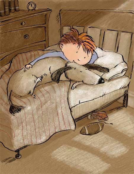 """Lasciati guidare dal bambino che sei stato. _ Josè Saramago _ Deborah Melmon - """"Dog & boy in bed""""."""