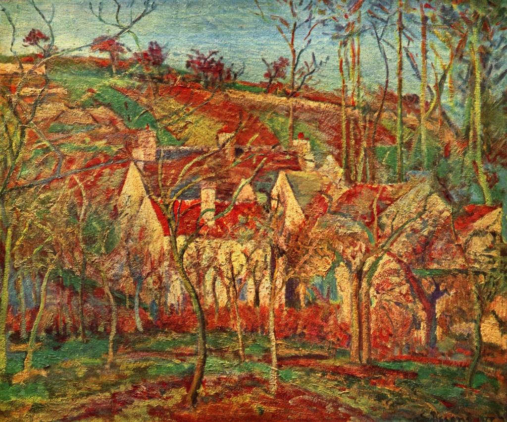 """""""Toits rouges, Coin d'un Village, Hiver (Côte de Saint-Denis à Pontoise)"""", 1877. Musèe d'Orsay."""