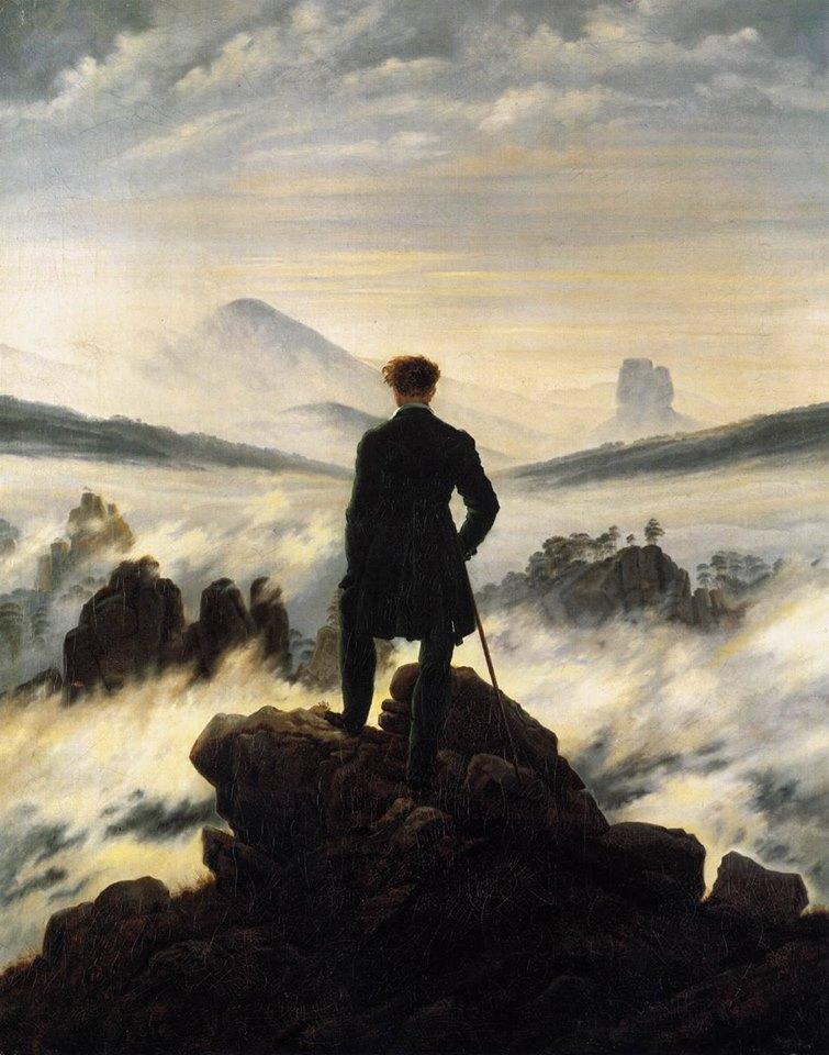 """Sono così, io. Certe volte spiaggia sperduta e solitaria. Altre volte mare in tempesta e strillante. Certe volte isola deserta e silenziosa. Altre volte oceano che abbraccia il mondo. _ Edvania Paes _ """"Viandante sul mare di nebbia"""", Caspar David Friedrich."""